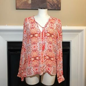 Sanctuary | Orange Floral Boho Long Sleeve Top